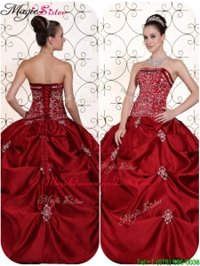 Magic Miss Quinceanera Selling Embroidery and Pick Ups Strapless Quinceanera Dresses