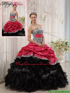 Magic Miss Selling Ruffles Sweetheart Quinceanera Gowns in Red and Black