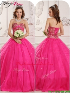 Modern A Line Beading Quinceanera Gowns in Hot Pink