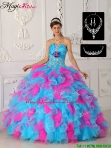 Perfect Multi Color Ball Gown Quinceanera Dresses with Appliques