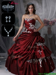 Plus Size Classical Strapless Quinceanera Dresses in Burgundy