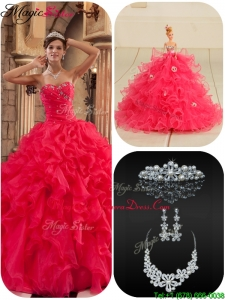 Plus Size Coral Red Quinceanera Dresses with Beading and Ruffles