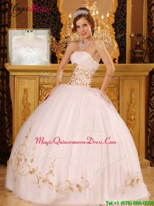 Plus Size Strapless Appliques Quinceanera Dresses in White