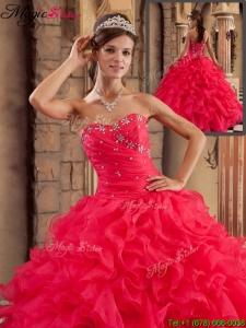 Plus Size Sweetheart Ruffles Quinceanera Dresses in Red