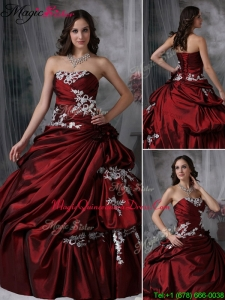 Elegant Ball Gown Strapless Appliques Quinceanera Dresses