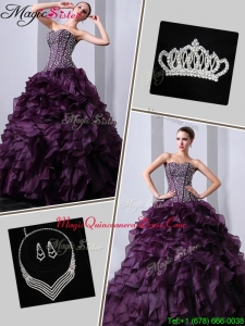 Plus Size Brush Train Sweet 16 Dresses with Beading and Ruffles