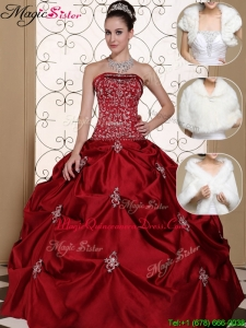 Romantic Strapless Quinceanera Gowns with Embroidery and Pick Ups