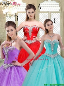 Elegant Sweetheart Brush Train Quinceanera Dresses with Beading