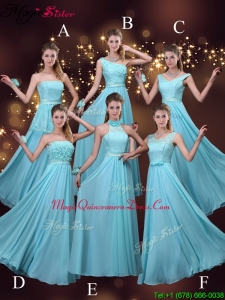 2016 Cheap Empire Aqua Blue Dama Dresses