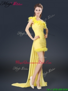 Sweet One Shoulder Watteau Train Dama Dresses in Yellow
