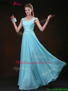 2016 Low price Empire V Neck Dama Dresses For Quinceanera with Belt and Lace