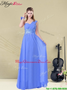 Best One Shoulder Dama Dresses For Quinceanera with Ruching and Belt