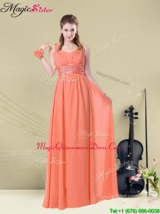 Fall Lovely Straps Floor Length Dama Quinceanera Dresses with Ruching and Belt