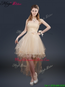 Pretty 2016 High Low Dama Quinceanera Dresses with Belt for Fall