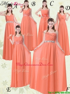 Simple Empire Floor Length Dama Dresses For Quinceanera with Ruching and Belt for 2016