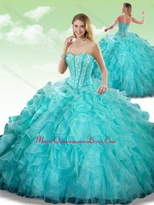 2016 Cute Sweetheart Beading Turquoise Quinceanera Dresses in Turquoise