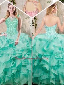 2016 New Appliques and Ruffles Sweet 16 Dresses in Turquois