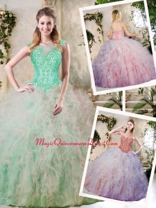 Classical Appliques and Ruffles Sweet 16 Dresses in Multi Color