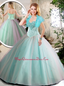 Cute Aqua Blue Quinceanera Dresses with Beading