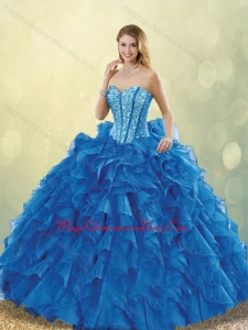 Cute Beading Sweetheart Detachable Quinceanera Dresses in Blue
