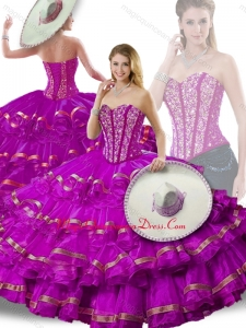 Cute Beading and Ruffled Layers Fuchsia Detachable Sweet 16 Gowns