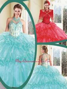 Cute Halter Top Quinceanera Dresses with Appliques and Ruffles