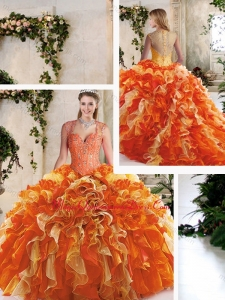 Cute Straps Quinceanera Dresses with Beading and Ruffles
