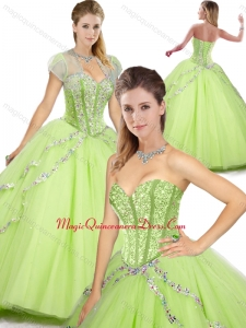 Spring Beautiful Sweetheart Beading Quinceanera Dresses in Yellow Green