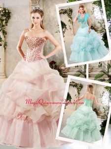 2016 Elegant A Line Sweet 16 Dresses with Beading and Pick Ups
