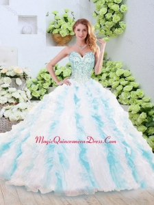 Fashionable Brush Train Quinceanera Gowns with Beading and Ruffles