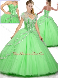Fashionable Floor Length Beading Sweet 16 Dresses for Spring