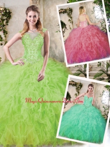 Modern Ball Gown Quinceanera Dresses with Appliques and Ruffles