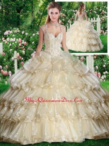 Beautiful Straps Champange Sweet 16 Dresses with Beading and Ruffled Layers