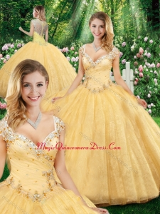2016 Latest Ball Gown Straps Quinceanera Dresses with Beading