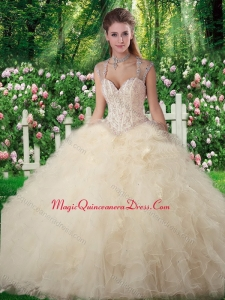 Romantic Ball Gown Champange Sweet 16 Dresses with Beading and Ruffles