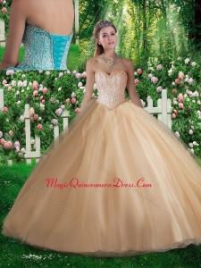 Simple A Line Sweetheart Beading Champagne Quinceanera Dresses for 2016