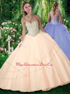 2016 New Style Puffy Sweetheart Beading Quinceanera Gowns