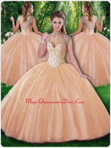 Beautiful Ball Gown Beading Champagne Sweet 16 Dresses for Fall