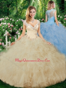 Cute Ball Gown Beading Champagne Quinceanera Dresses with Cap Sleeves