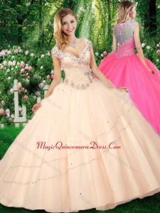 Cute Ball Gown Cap Sleeves Straps Beading Quinceanera Dresses
