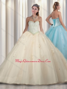 Cute Princess Beading and Sweet 16 Gowns Dresses in Champagne