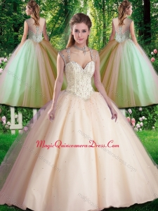 Hot Sale Straps Beading 2016 Quinceanera Dresses for Spring