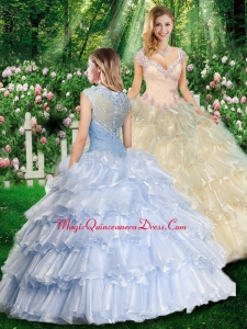 Romantic Ball Gown Quinceanera Gowns with Beading and Ruffled Layers
