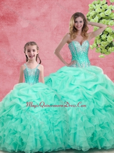 2016 Romantic Beading Princesita with Quinceanera Dresses in Apple Green