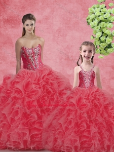 Wonderful Ball Gown Sweetheart Beading Princesita with Quinceanera Dresses in Coral Red