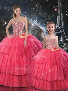 Fashionable Ball Gown Coral Red Princesita with Quinceanera Dress with Beading for Fall
