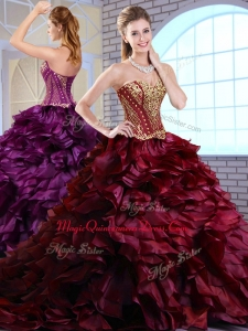 2016 Best Brush Train Ruffles and Appliques Quinceanera Dresses in Wine Red