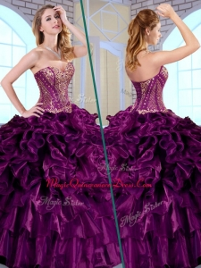 2016 Gorgeous Ball Gown Sweetheart Ruffles and Appliques Quinceanera Dresses