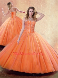 2016 Pretty Ball Gown Sweetheart Orange Quinceanera Dresses with Beading