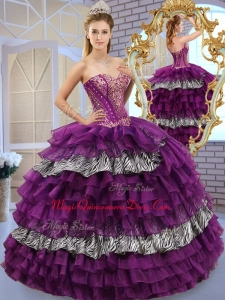 2016 Pretty Sweetheart Ball Gown Quinceanera Dresses with Ruffled Layers and Zebra